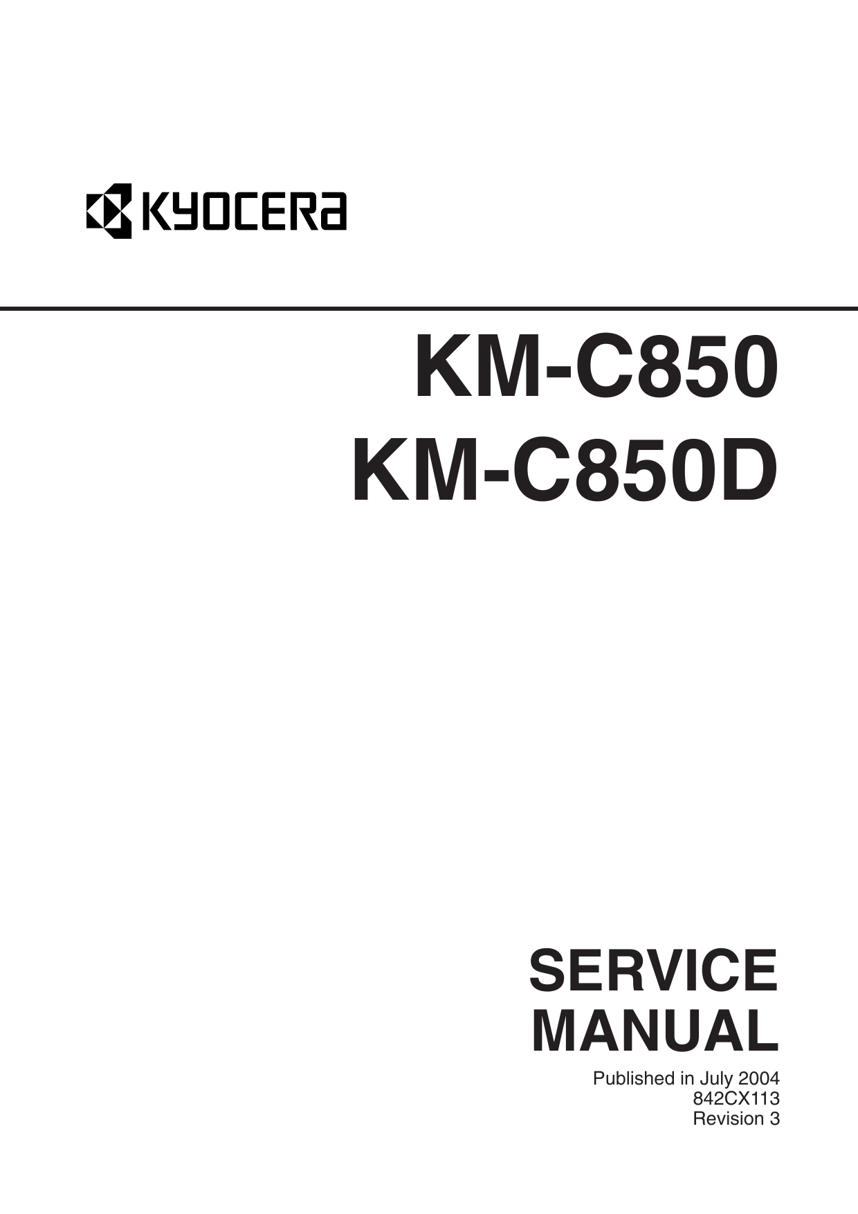 KYOCERA ColorCopier KM-C850 C850D Parts and Service Manual-1